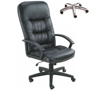 High-Back Leather Office Chair Tilt: Spring
