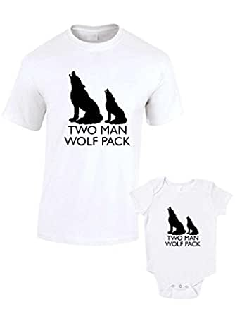 Two Man Wolf Pack T Shirts & Baby Grow Matching Father