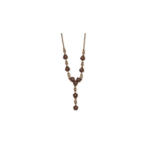 Copper-tone Lt. Colorado & Brown Crystal 15in w/ Ext Y Necklace