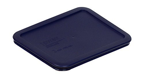 Pyrex Blue Rectangle 3 Cup (750ml) Plastic Storage Cover (2 Pack)
