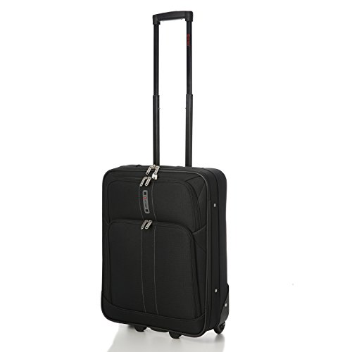 """5 Cities 55x40x20cm RYANAIR MAX CABIN SIZE 41 Litre Super Lightweight Travel Carry On Hand Luggage Suitcase with 2 Wheels, Also Approved for Easyjet, British Airways and Many More! (21"""", Black)"""