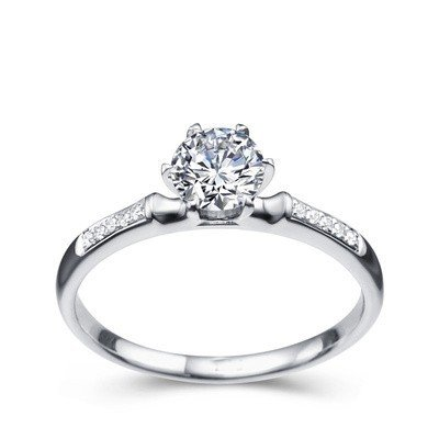 0.58 Carat Solitaire Cheap Wedding Ring with Round cut Diamond on 14K White gold