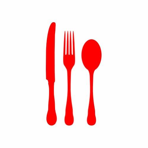 Kitchen Set - Utensils - Red - Sticker - Decal - Black - Die Cut