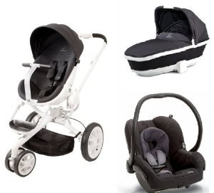 quinny mood stroller with tukk bassinet and maxi cosi mico car seat black irony. Black Bedroom Furniture Sets. Home Design Ideas