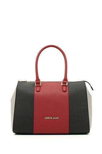 Armani Jeans922574CC857 - Borsa shopper Donna , Rosso (Rot (BURGUNDY-NERO-GRIGIO 07276)), 25x14x35 cm (B x H x T)