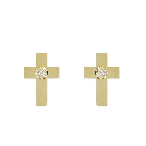 14k Yellow Gold, Cross Stud Screw Back Earring Lab Created Gems