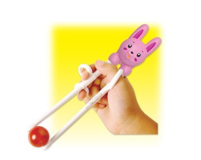 Edison Training Chopsticks for Right Handed Children Pink Rabbit - 1