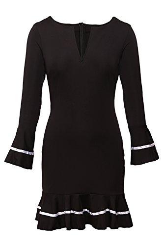 Sidefeel Women Cute V Neck Long Sleeve Pencil Sheath Mini Dress Small Black