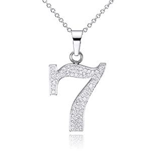 316 l stainless steel with cz number 7 pendant necklace