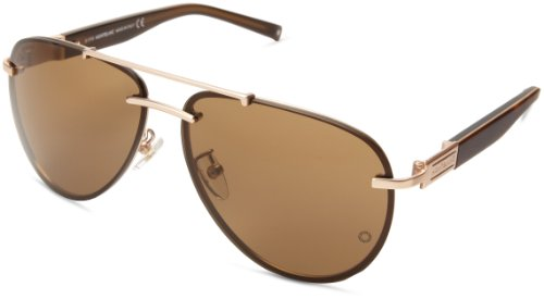 Mont Blanc Mb404S6229J Aviator Sunglasses,Matte Rose Gold,62 Mm