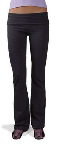 Hardtail Roll Down Boot Leg Yoga Pants (Large, Black)
