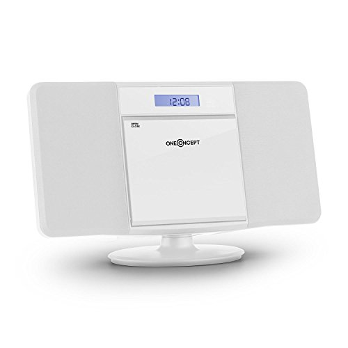 oneConcept V-13 BT Chaîne stéréo ultra-plate (Bluetooth, radio tuner AM/FM, lecteur CD-MP3, ports USB, entrée AUX, écran LCD, fonction réveil) - blanc