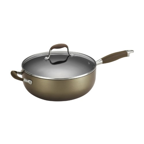 Anolon Advanced Bronze Collection Hard Anodized Nonstick 6.5-Quart Covered Chef Pan with Helper Handles