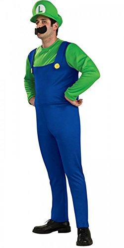 Herren-Kostüm LUIGI Super Mario Bros. BLAU/GRÜN, Größe:XXL