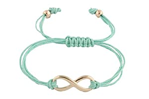 2 Pieces of Mint with Gold Infinity Adjustable String Bracelet