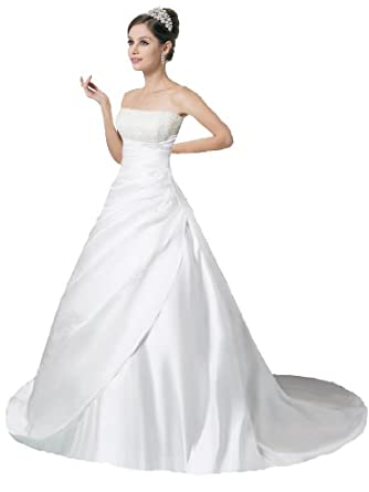Faironly Crystal Strapless Satin Wedding Dress Bride Gown (X-Small, Ivory)