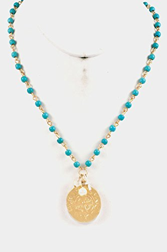 Trendy Fashion Jewelry Bead Pendant Necklace By Fashion Destination | (Matted Gold)