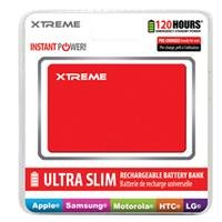 Xtreme Universal Usb 1800Mah Ultra Slim Battery Bank - Retail Packaging - Red