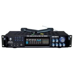 Pyle Pwma2003T 2000W Hybrid Pre Amplifier With Am/Fm Tuner/Usb/Dual Wireless Mic