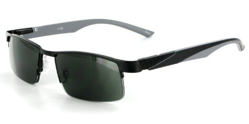 Boardwalk Fashion Full Reading Sunglasses (NOT A BIFOCAL) with Spring Temples for Youthful, Stylish Men and Women (Black & Gray w/ Green Lens +2.00)