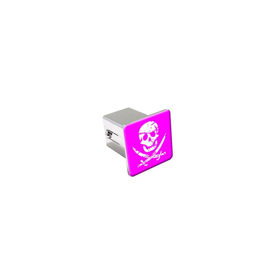 Pirate Skull Crossed Swords   Pink   Chrome 2 Tow Trailer Hitch Cover Plug