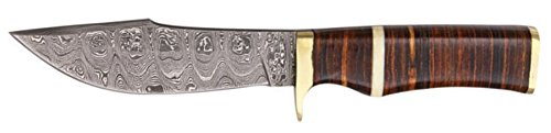 Szco Supplies Leather Stacked Damascus Bowie Knife