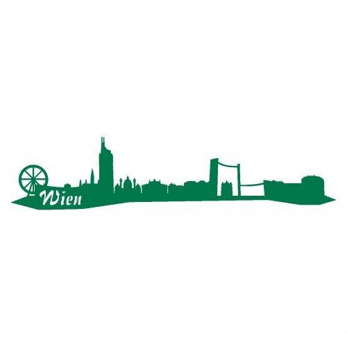 Wandtattoo Wien Skyline Wandaufkleber viele Farben und Größen sofort lieferbar in 8 Größen und 25 Farben (30x6,7cm grün)