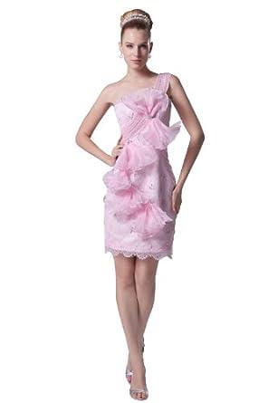herafa p31801-2 Robes De Bal Décoré À La Main Avec Des Fleurs Bow Sans bretelle Sans manche Perles Délicates mini Gaine Rose