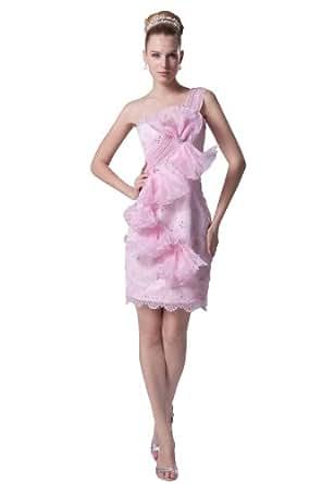 herafa p31801-8 Robes De Bal Décoré À La Main Avec Des Fleurs Bow Sans bretelle Sans manche Perles Délicates mini Gaine Rose