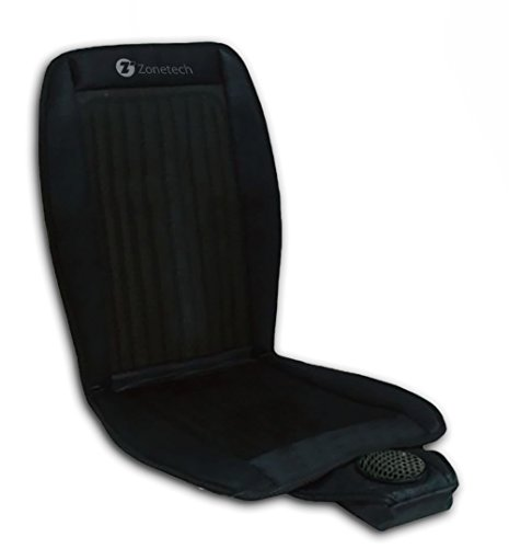 Zone Tech Cooling Car Seat Cushion - Black 12V Automotive Adjustable Temperature Comfortable Cooling Car Seat Cushion (Cooled Seat Covers For Cars compare prices)