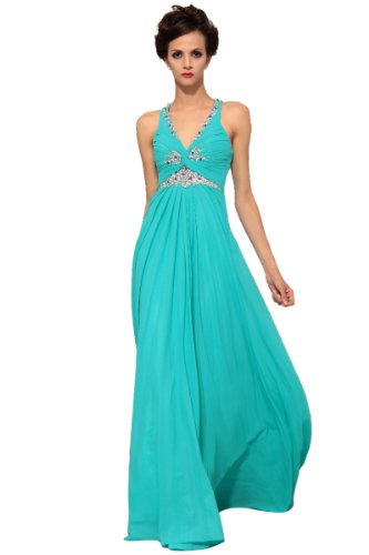 CharliesBridal V-Neck Sweep Train Evening Dress - M - Aqua