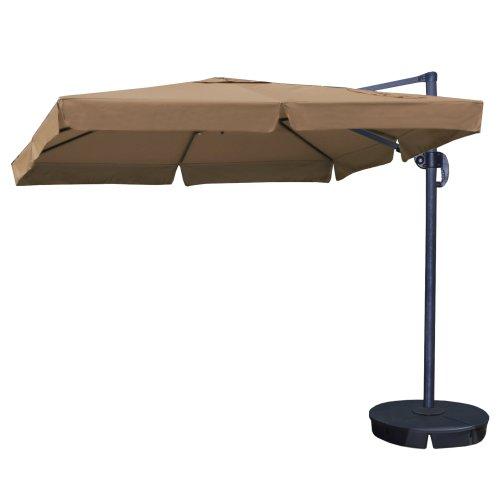Blue Wave Santorini Ii Square Cantilever Umbrella With Valance, 10-Feet, Stone Sunbrella Acrylic