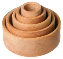 Grimm's Set of 5 Small Wooden Stacking & Nesting Bowls, Natural - 1