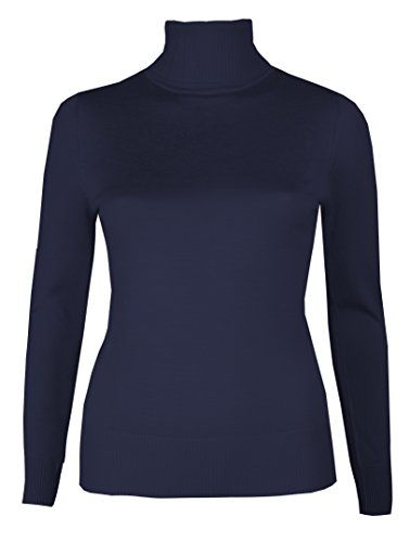 Pullover da donna, collo con Brody & Co., a maglia Fine tenori felpe-Polo Top blu navy Medium