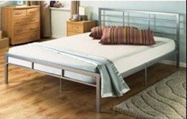 Porto Kingsize 5' Silver Modern Metal Bed