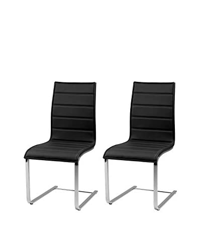 Armen Living Set of 2 Contemporary Dining Chairs, Black