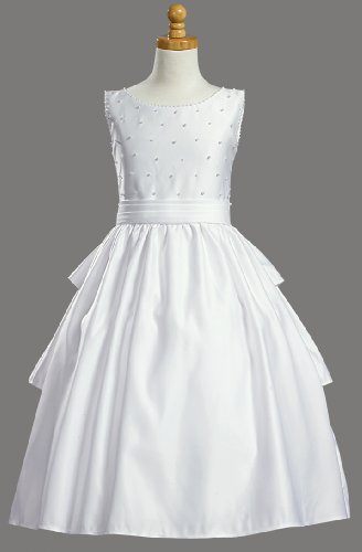 White Satin Sleeveless Communion Dress With Cummerbund And Accented With Pearls - Size 10