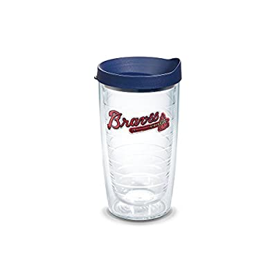 """Tervis 1038870 """"MLB Atlanta Braves"""" Tumbler with Navy Lid, 16 oz, Clear"""
