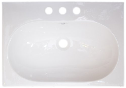 American Imaginations 409 26-Inch by 18-Inch White Ceramic Top with 8-Inch Centers