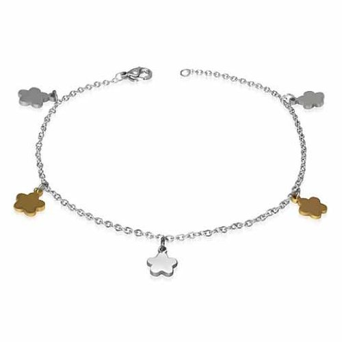 Sexy Polished Two-Tone Flower Anklet Ankle Bracelet Stainless Steel