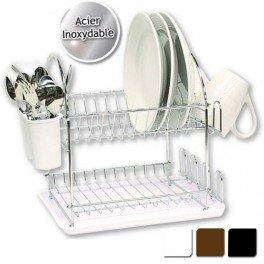 egouttoir vaisselle double en inox avec plateau marron cuisine maison