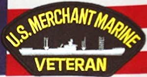 "U.S. MERCHANT MARINE VETERAN BLACK PATCH(Can be sewn or ironed on jacket or hat) Patch 3""x5"""