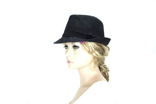 Noonies Boutique Lacy Black Shimmer Lady Fedora 10'' w 2'' Brim