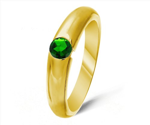 Classical 9 ct Gold Ladies Solitaire Engagement Ring with Chrome Diopside 0.25 Carat