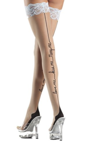 Costume Adventure Women's Bridal Thigh High Cuban Heel Stockings with Saying