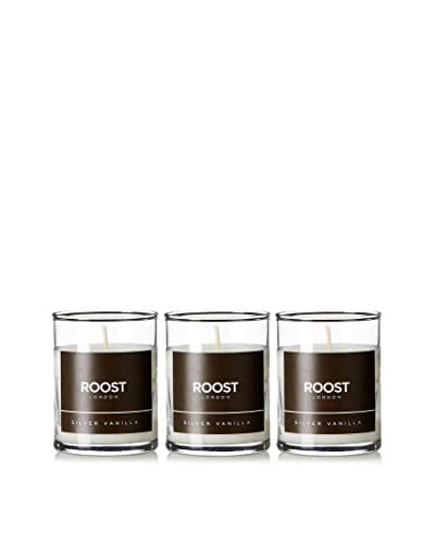 Bluewick Candles Set of 3 Silver Vanilla ROOST London Everyday Scented 3.2-Oz. Votive Candles