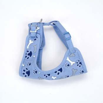 Coastal Pet Li'l Pals Adjustable Soft Mesh Harness In Blue With Bones & Paw Prints, Small
