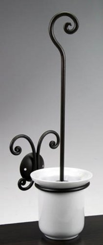 Bagno Bathroom Toilet Brush Holder In Wrought Iron With Brush And White Ceramic Cup, Complete Bathroom Set