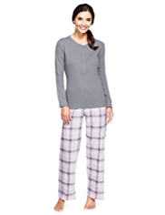Pure Cotton Henley Neck Checked Pyjamas