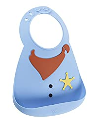 Make My Day Soft Silicone Baby Bib Blue Sheriff